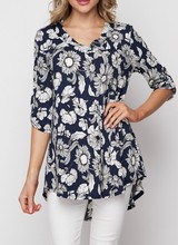 AccessHERize Navy Floral Tab Sleeve Top