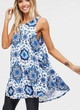 AccessHERize Sleeveless Blue Medallion Dress