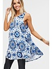AccessHERize Sleeveless Blue Medallion Dress