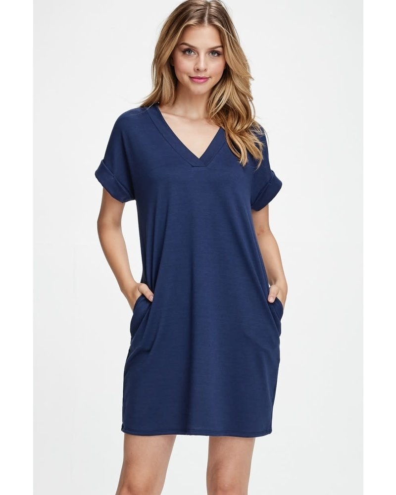 AccessHERize Short Sleeve V Neck Pocket Dress