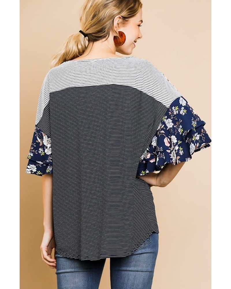 Umgee Striped Top with Floral Sleeves