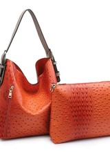 "AccessHERize ""Alexa"" Ostrich Hobo Bag Orange"
