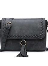 """AccessHERize """"Sandy"""" Whipstitch Flap Crossbody Bag Black"""