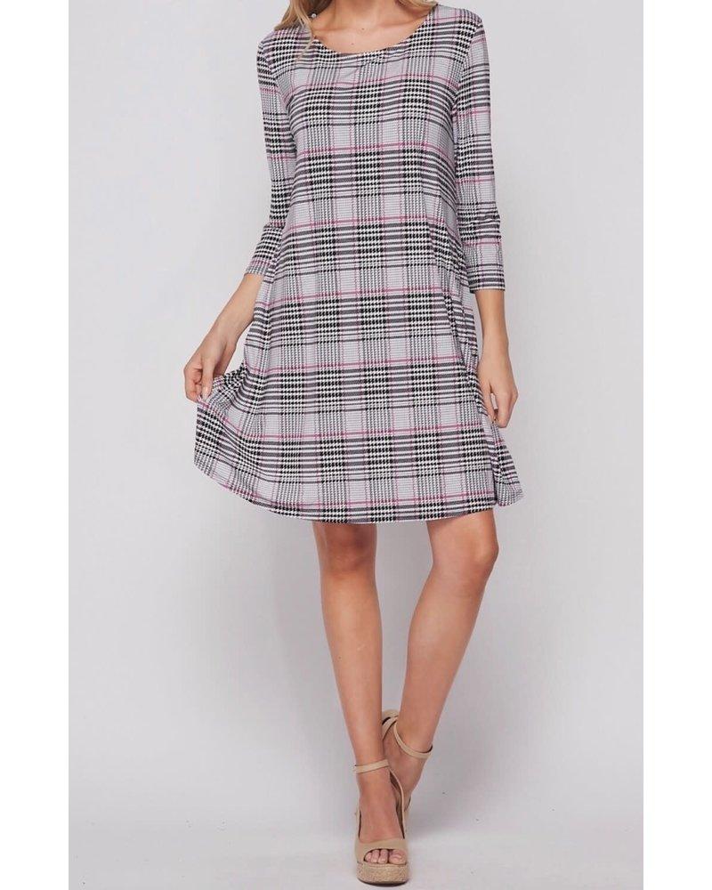 AccessHERize Glen Plaid Swing Dress