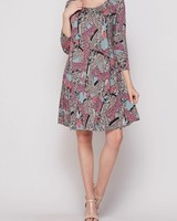 AccessHERize Pink Scroll Pattern Dress