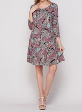 AccessHERize Pink Scroll Pattern Dress