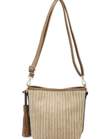 AccessHERize Straw Textured Crossbody Bag