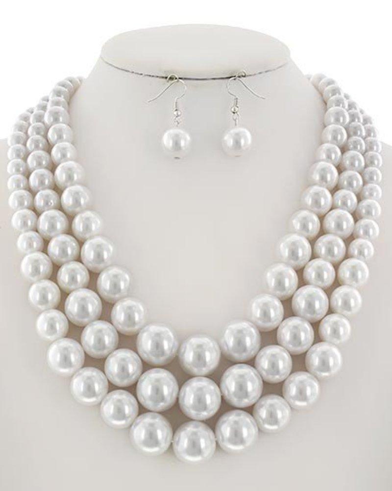 AccessHERize Three Strand Pearl  Necklace
