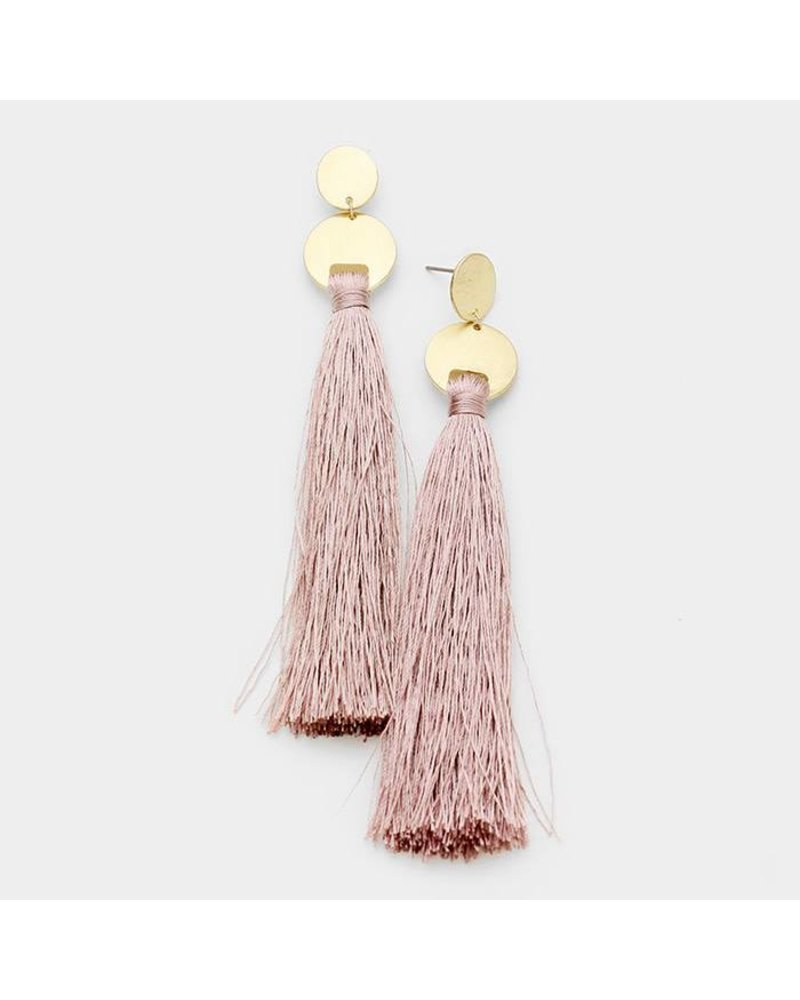AccessHERize Thread Tassel Earrings with Gold Post
