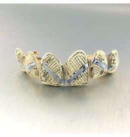 6 Fronts Diamond Cut with Rhodium Stripes