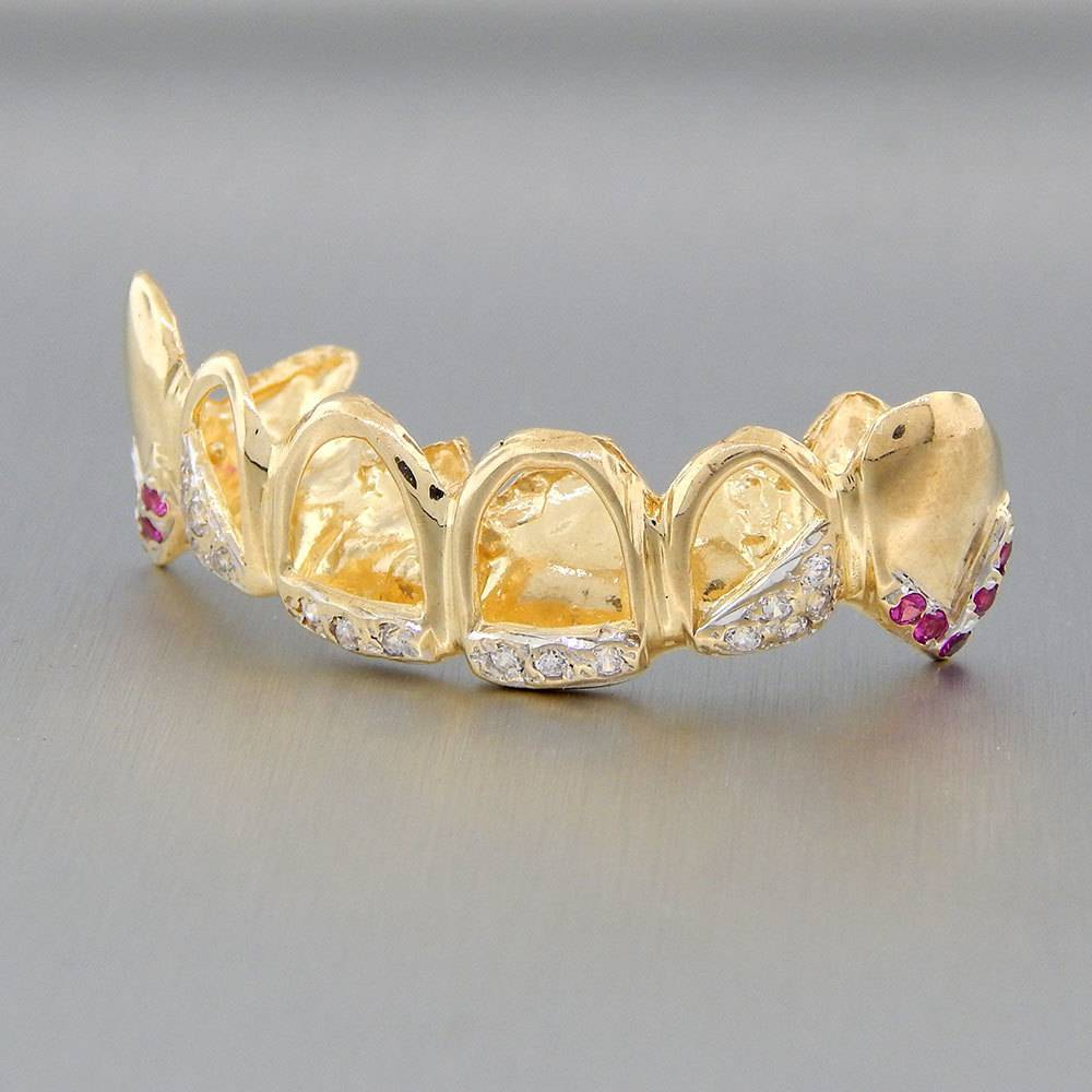 6 Fronts Open Crown with 16 Diamonds and 10 Rubies