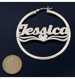 Silver Hoops 3 w Name