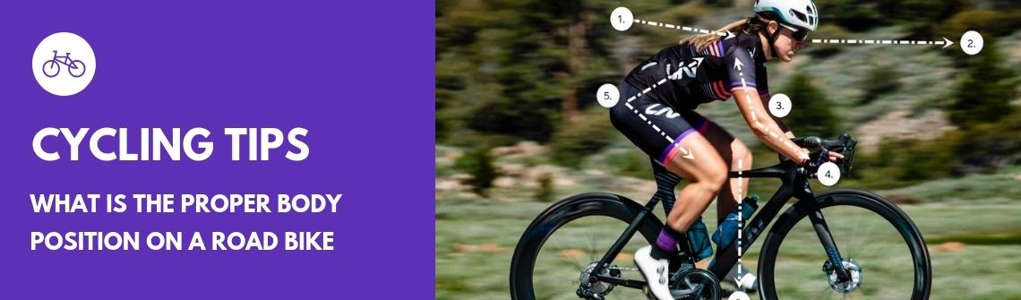 What is the proper body position on a road bike?