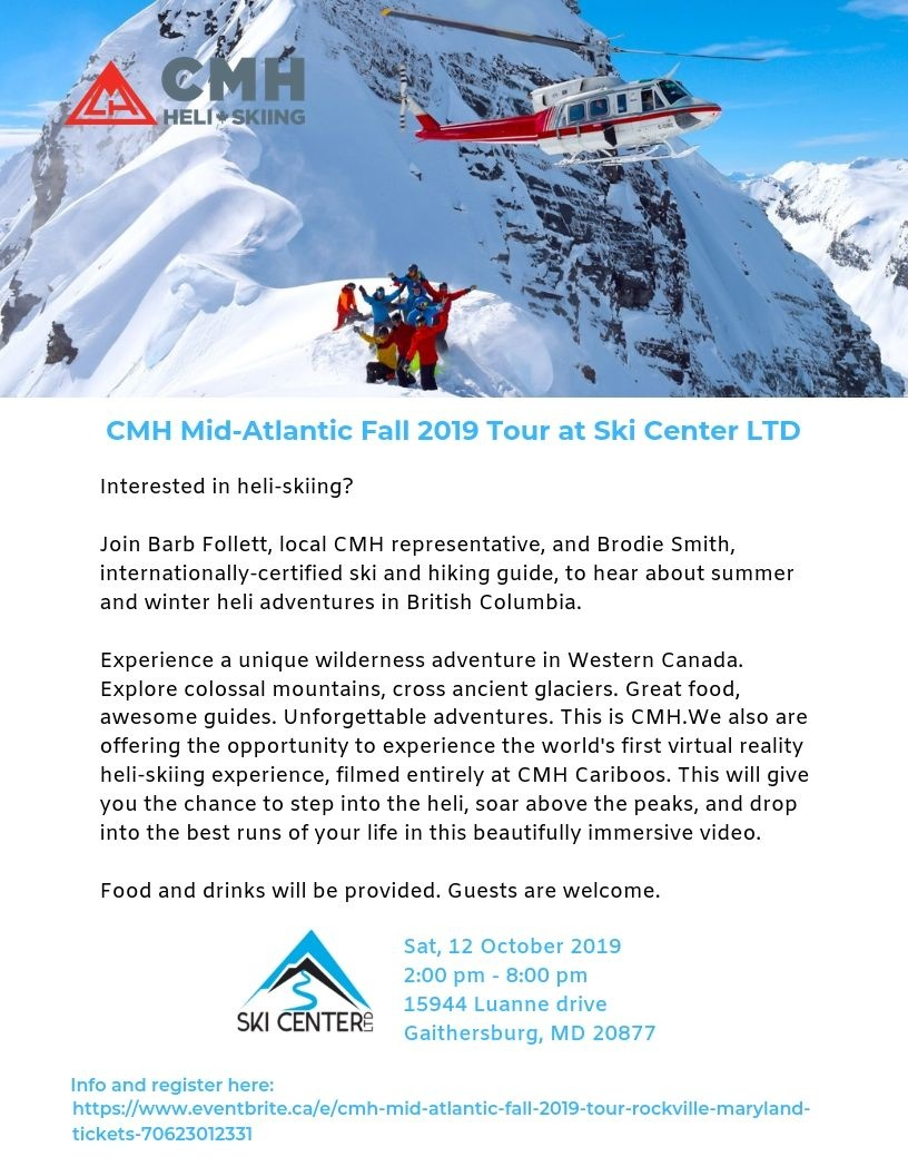 CMH Heli Skiing Fall 2019 Tour