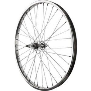 Rear Wheel 24 inch Silver 6/7 Speed Bolt-on Hub, Steel Rim with Solid Axle 36 Spokes Include Axle Nuts