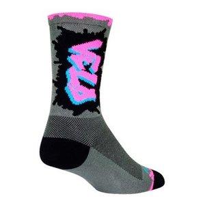 SockGuy Crew Velo LUV Socks - 6 inch, Gray/Pink/Black, Small/Medium