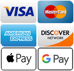Visa, Mastercard, American Express, Discover, Apple Pay, Google Pay