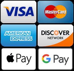Visa, Mastercard, American Express, Discover, Apple Pay, Google Pay