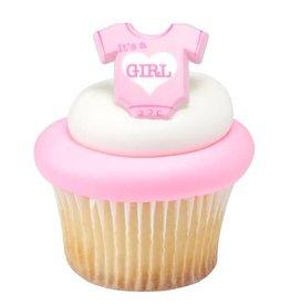 """Decopac """"It's a Girl"""" Onesie Cupcake Rings (12/pkg)"""