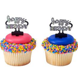 Decopac Happy Birthday Neon Sign Cupcake Picks (12/pkg)