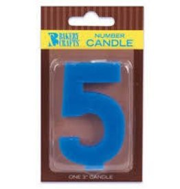 "Decopac Block Number Candle ""5"" - Royal Blue"