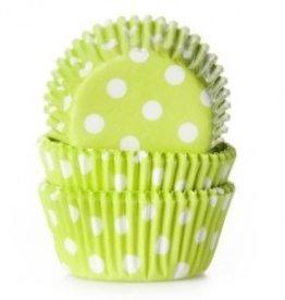 Viking Lime Green/White Polka Dot Mini Baking Cups