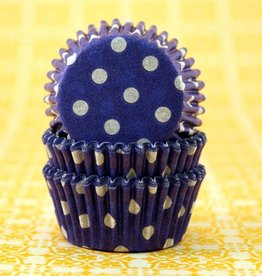 Viking Blue Polka Dot Baking Cups Mini (40-50ct)