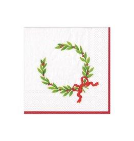 """Caspari Christmas Laurel Wreath with Initial """"G"""" Beverage Napkin (20ct)"""