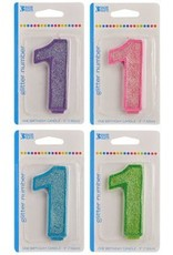 "Decopac Numeral Glitter Candle ""1"""
