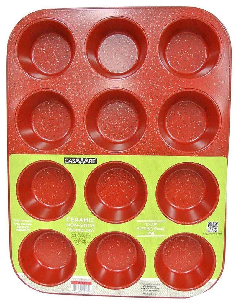 Casa Ware Muffin Pan 12 cup (Red Granite)