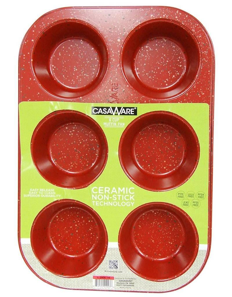 Casa Ware Muffin Pan 6 Cup (Red Granite)
