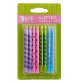Decopac Glitter Stripe and Dot Candle