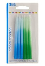Decopac Blue & Green Ombre Candles - 12ct