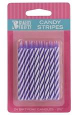 Decopac Candy Stripe Candles (Purple)-24ct