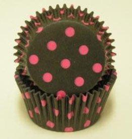 Viking Black and Pink Polka Dot Baking Cups