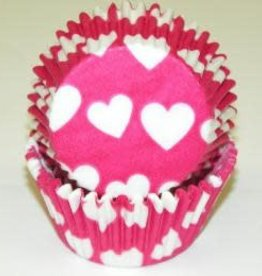 CK Heart Baking Cups (Pink W/ White Hearts)