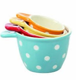Creative Co-op Ceramic Measuring Cups w Polka Dots (Set of 4)