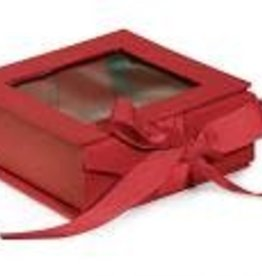 Nashville Wraps Red Folding Box with Window and Ribbon