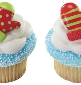 Deco Pack Holiday Mitten Cupcake Rings