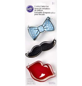 Wilton Cookie Cutter Set (Lips, Mustache, Bow)