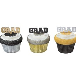 Decopac Black, Silver & Gold Grad Picks (12/pkg)