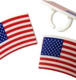 American Flag Rings (12/pkg)