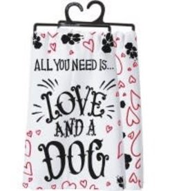 Primitives By Kathy Dish Towel - Love and a Dog