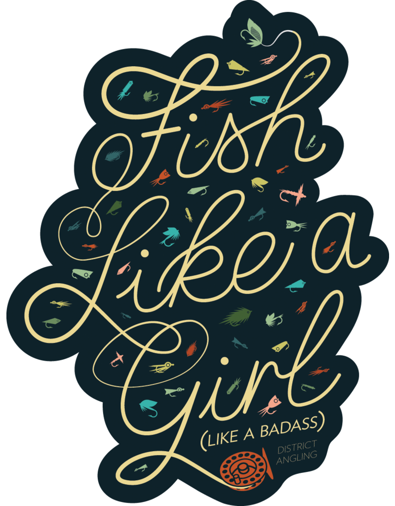 District Angling Fish Like A Girl Sticker