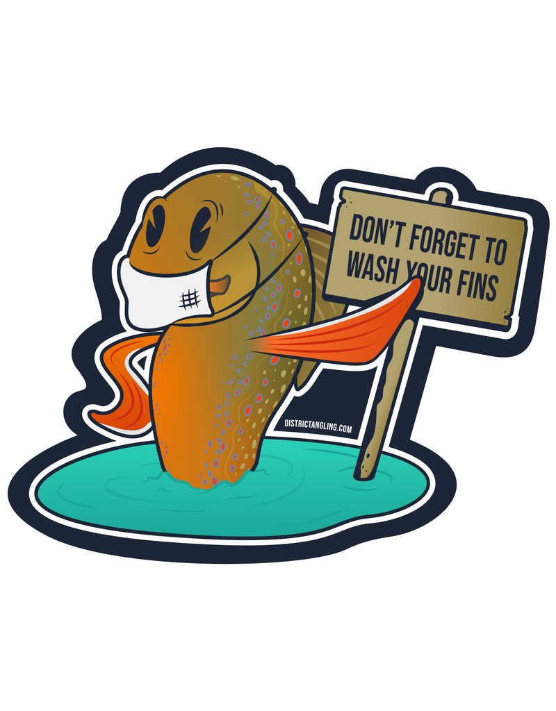District Angling Wash Your Fins Sticker