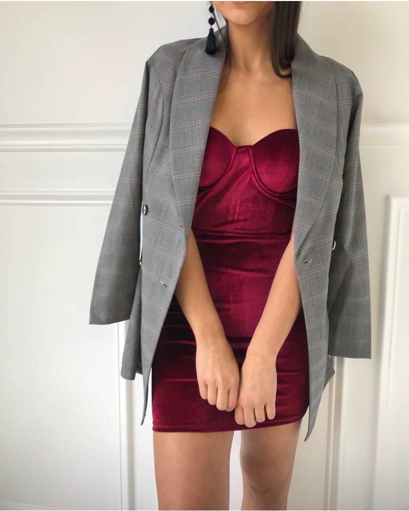 Gibiu GBD0732 Velvet Mini Dress