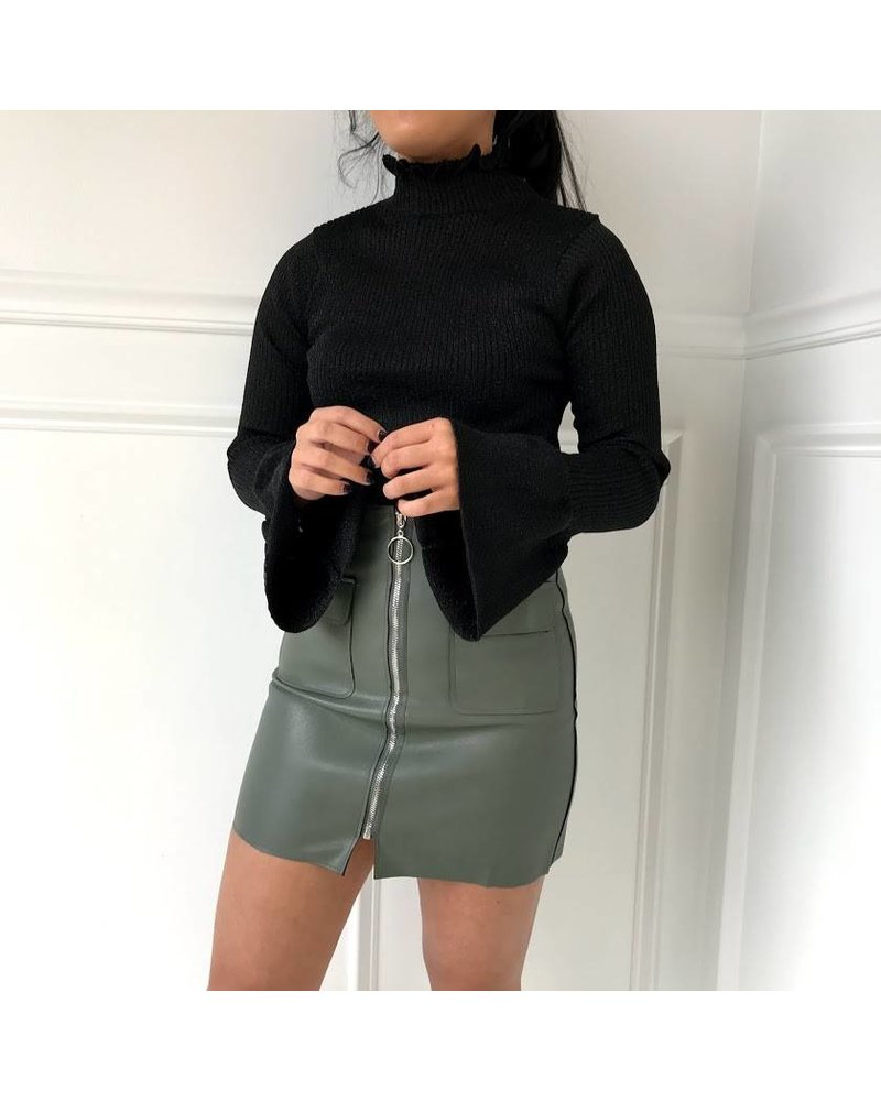 Love Riche 12w1247L ribbed bell sleeve turtleneck