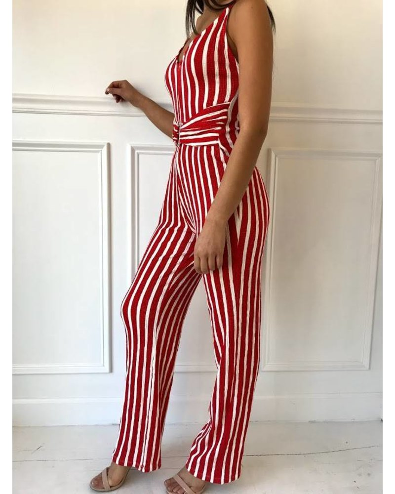 Style Melody 3230ry vertical stripe jumpsuit