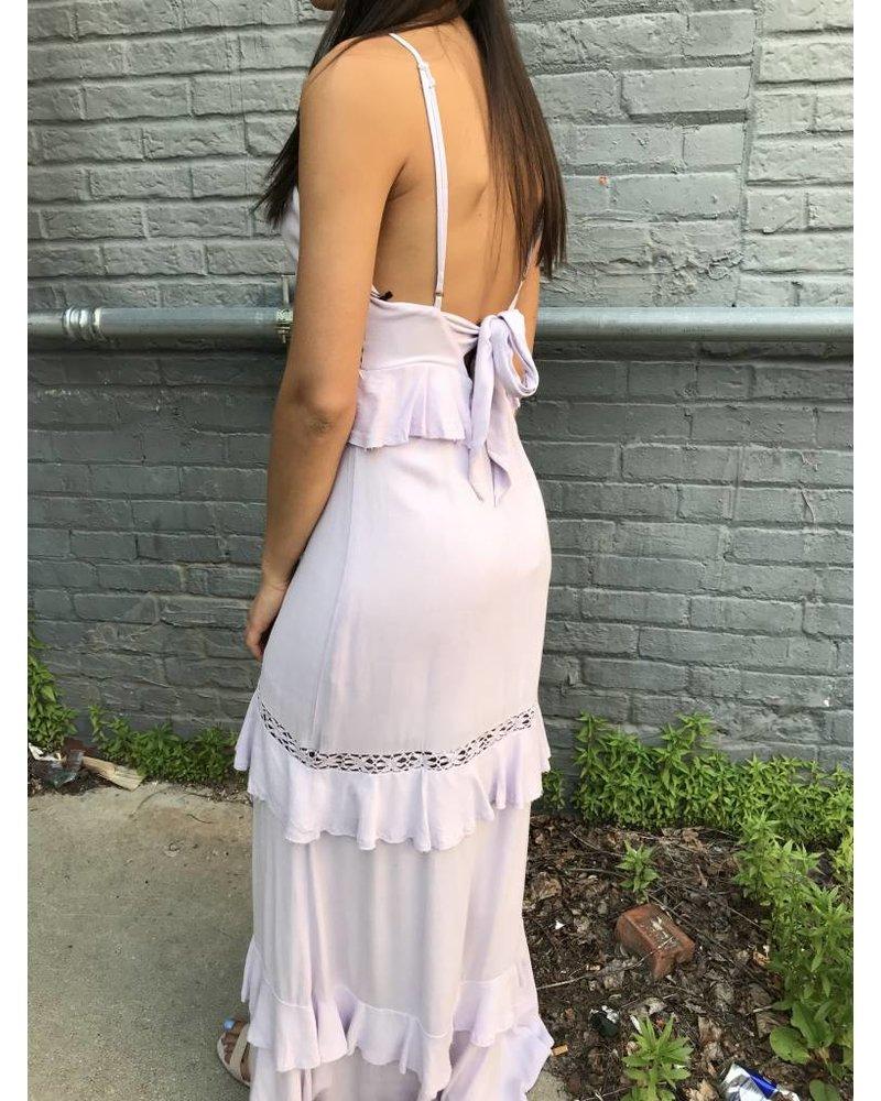 cotton candy front slit maxi dress
