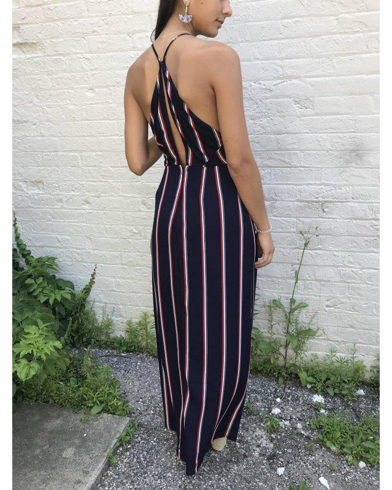 Lush ava striped maxi dress